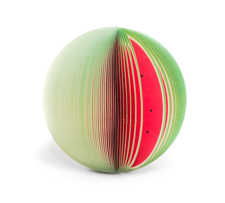 paper stick note memo pad looking like watermelon isolated on white
