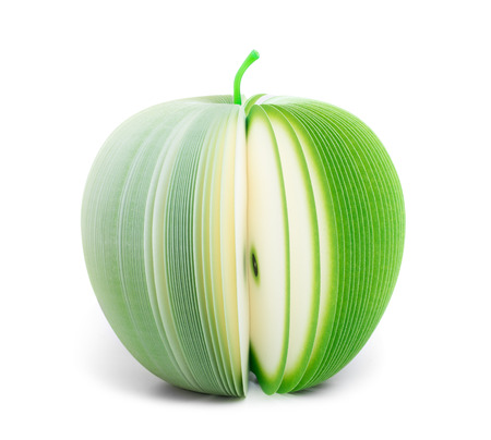 paper stick note memo pad looking like fruit isolated on white