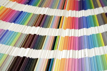 fanned: heavily used ink formula guide, fanned to display colors Stock Photo