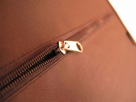 detail of a zipper from a CD case Stock Photo