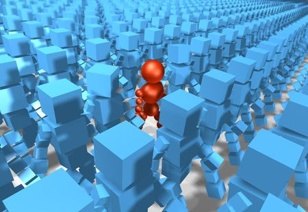 among: 3D rendering of a unique person among a crowd