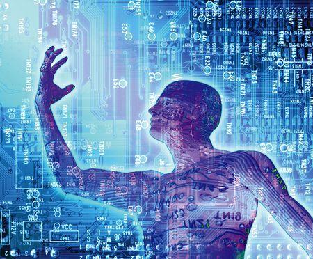evolucion: surrealista ilustraci�n que representa la evoluci�n de la tecnolog�a en una forma simb�lica  Foto de archivo