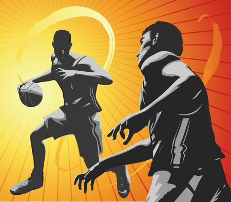 Two basket ball players on a one on one contest. Part of my vector sports series. Stock Photo