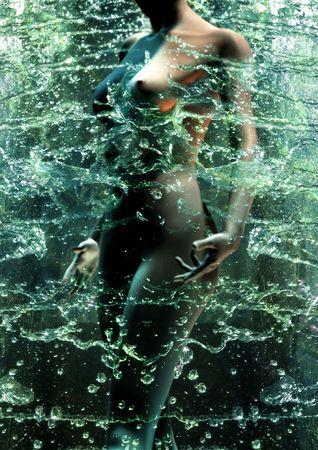 wet nude: desnudo, digitales ni�a se esmeralda salpicado con agua