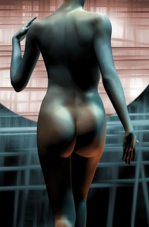 3d nude: naked, digital girl, in an abstract background