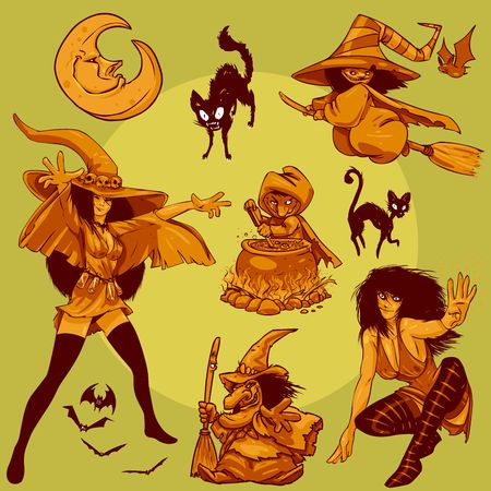 collection of Halloween Witches. This is the second part of my Halloween Characters Special. Stock Photo