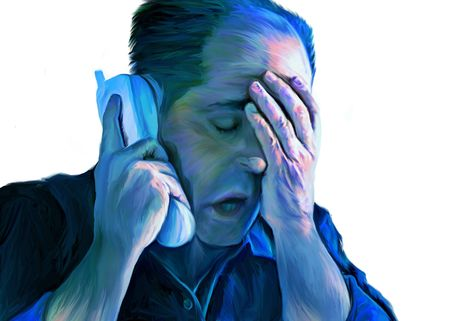actual: Digital painting of imaginary man hearing bad news through the telephone.  This painting is NOT painted over a photograph.This painting is NOT painted over a photograph. This is NOT an actual person. Stock Photo