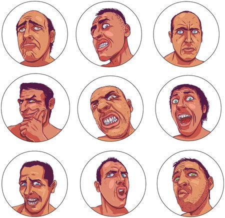 Drawn portraits depicting dark human emotions Stock Photo