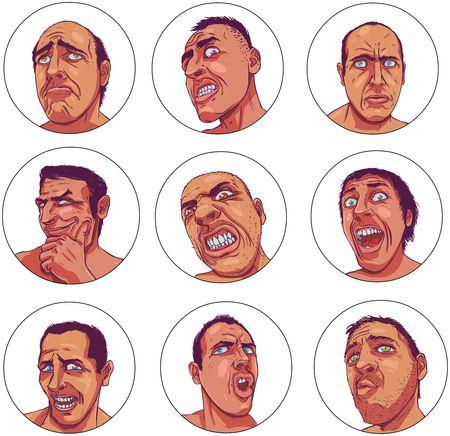 depicting: Drawn portraits depicting dark human emotions Stock Photo