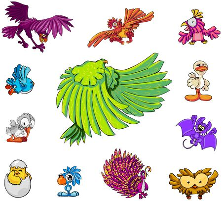 11 bird cartoon characters, and 1 bat photo