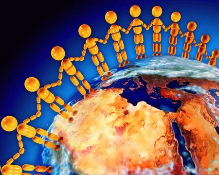 3D rendering of global friendship Stock Photo