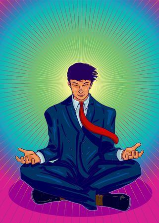 Vector Illustration of a business guru, Zen meditating