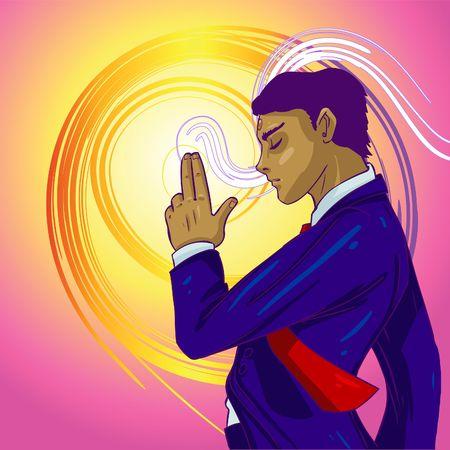 Vector Illustration of a business guru, Zen meditating Stock Illustration - 237894