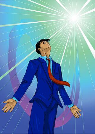 Vector Illustration of a business guru, Zen meditating Stock Illustration - 237895