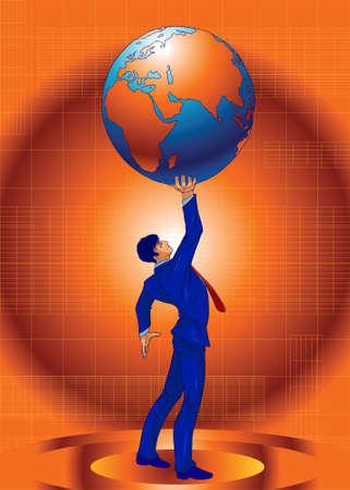 Illustration of a business guru, power lifting the globe. Stock Photo