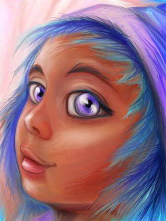 Digital painting of an imaginary person. This is NOT an actual person. I used sketches from my sketchbook, and  life drawing as reference.