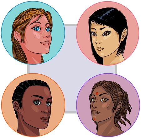 minority: Vector illustrations of imaginary, multi-ethnic girls. These portraits are not traced, and they have no likeness to any actual person that I know of.
