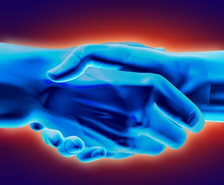 3D rendered handshake. Stock Photo