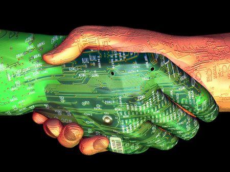Circuit technology meets organic technology. 3D rendering. photo