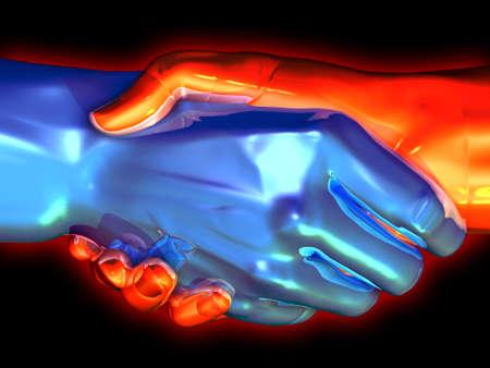 gripping: 3D rendered handshake. Stock Photo