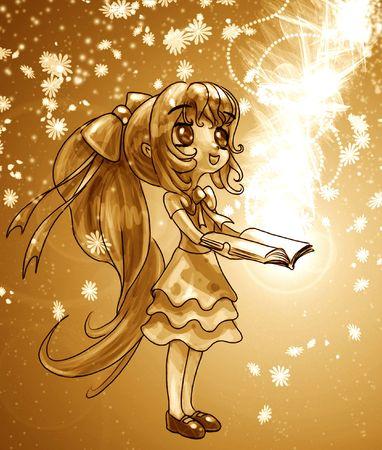 The magic of books illustrated manga style Stock Photo