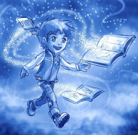anime young: The magic of books illustrated manga style Stock Photo