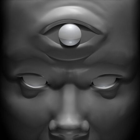 third eye: 3D rendering and illustration portrait of an enlightened being Stock Photo