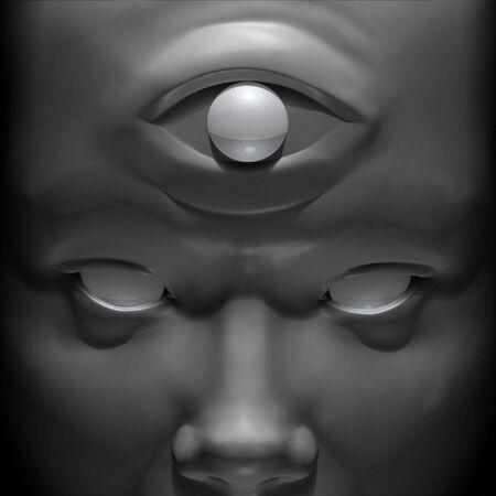 illuminati: Rendering 3D e illustrazione ritratto di un illuminato