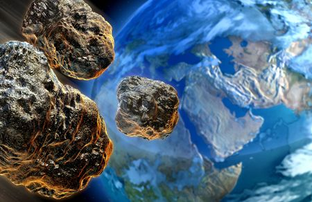 imminent: Digital Illustration: Realisticly Painted illustration of meteors falling on earth Stock Photo