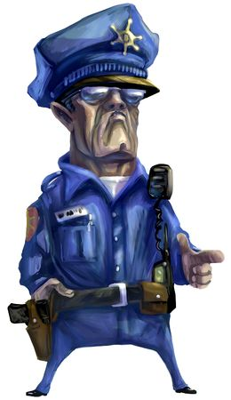 corrupted: Illustration: Digital Painting emulating oil paint, of a mean police man.