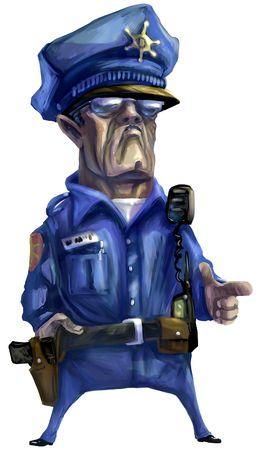 policia caricatura: Ilustraci�n: Pintura Digital emular pintura �leo, de una media de polic�a hombre.