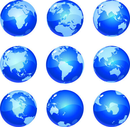 vector blue globes glossy and metalic, showing nine views of planet earth, including all continents.  Drawn free hand in Flash - not a trace