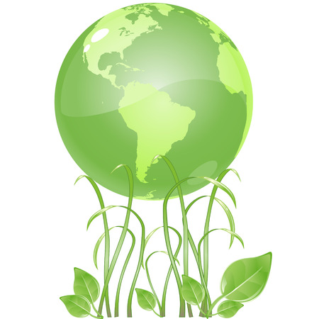 vector clip art of a ecologicaly green, glossy globe, resting on growing slender grass blades and green leaf.  Drawn free hand in Flash - not a trace