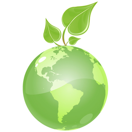reflection of life: vector clip art of an ecologicaly green, glossy globe, growing a fresh green leaf.  Drawn free hand in Flash - not a trace Illustration