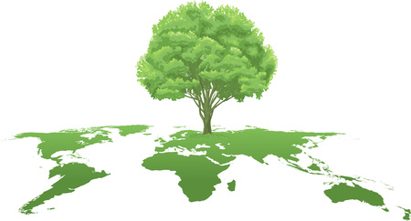 vector clip art of an ecology green world atlas map, growing a strong, green tree.  Drawn free hand in Flash - not a trace