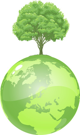 vector clip art illustration of an ecologicaly green, glossy globe, growing a fresh green tree.  Drawn free hand in Flash - not a trace