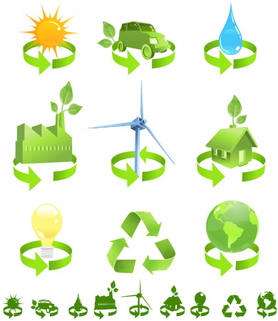 Green vector icons show forms of recycled energy including sun, wind, water and enviromental friendly house, car, factory, electricity and planet earth. Silhouette symbols included