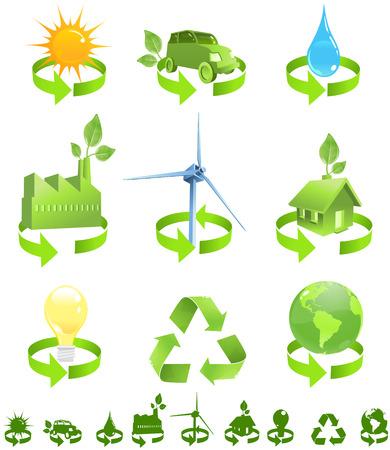enviromental: Verde vector iconos mostrar las formas de reciclado de energ�a incluida sol, el viento, el agua y el medio ambiente, casa, coche, f�brica, la electricidad y el planeta tierra. Silueta los s�mbolos