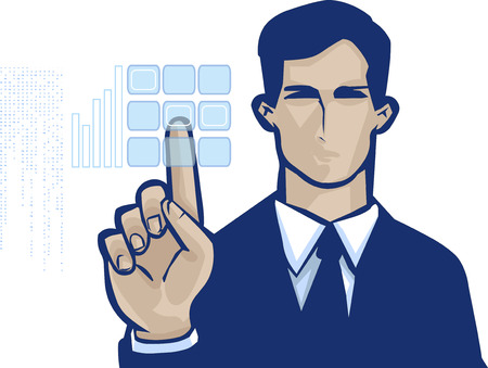 vector clip art of a business man in formal suit and serious facial expression, pushing touch screen access button
