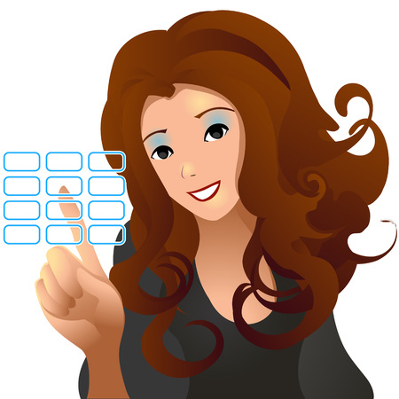 option key: vector clip art of a cute girl in formal clothes and happy facial expression, pushing virtual touch screen access button