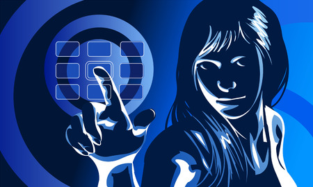vector clip art of a cute girl in formal clothes and serious facial expression, pushing virtual touch screen access button.  Drawn free hand in Flash - not a trace