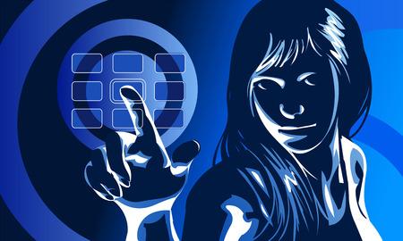 vector illustraties van een schattig meisje in formele kleding en ernstige gezichtsuitdrukking, duwen virtuele touchscreen toegang knop. Drawn vrije hand in Flash - geen sporen