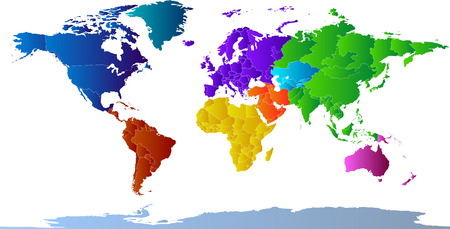 antarctica: Vector clip art map of the world, with all countries and borders showing. Continents are distinctively colored. Antarctica is included. .  Drawn free hand in Flash - not a trace. Reference source: http:www.lib.utexas.edumaps