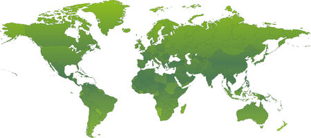 Vector clip art map of an ecological green atlas of the world, with all countries and borders showing. .  Drawn free hand in Flash - not a trace. Reference source: http:www.lib.utexas.edumaps Vector