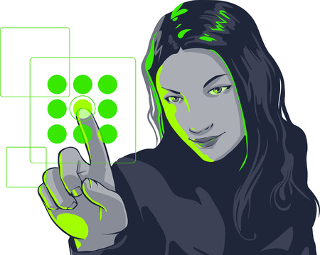 focused: vector clip art of a cute girl in formal clothes and focused but smiling facial expression, pushing virtual touch screen access button. .  Drawn free hand in Flash - not a trace Illustration