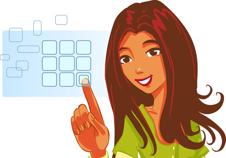 cyber girl: vector clip art of a cute girl in formal clothes and happy facial expression, pushing virtual touch screen access button