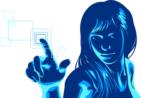 computer hacker: vector clip art of a cute girl in formal clothes and smiling facial expression, pushing virtual touch screen access button. .  Drawn free hand in Flash - not a trace