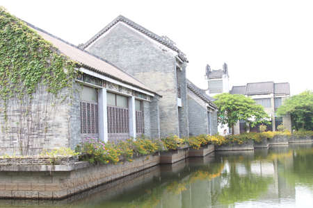 bourgeoisie: Impression of Lingnan Garden, brick houses, old building Editorial