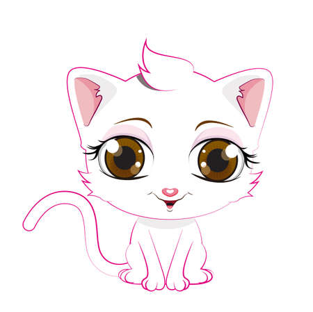 White cat cartoon Illustration