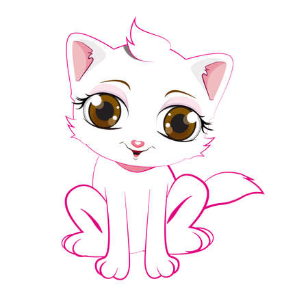 White cat cartoon 向量圖像